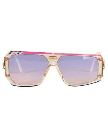 Cazal Vintage Asymmetrical Clear Blue and Pink Sunglasses 867 125