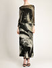 Celine Vintage Black Sheer Silk Embroidered Fuzzy Gold Tinsel Dress - Amarcord Vintage Fashion  - 2