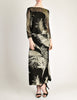 Celine Vintage Black Sheer Silk Embroidered Fuzzy Gold Tinsel Dress - Amarcord Vintage Fashion  - 3
