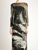 Celine Vintage Black Sheer Silk Embroidered Fuzzy Gold Tinsel Dress - Amarcord Vintage Fashion  - 7