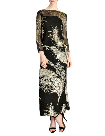 Celine Vintage Black Sheer Silk Embroidered Fuzzy Gold Tinsel Dress