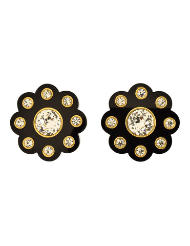 Chanel Vintage Massive Polished Thick Black Resin Rhinestone Gold Flower Earrings
