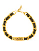 Chanel Vintage Gold Chain & Black Leather ID Tag Nameplate Choker Necklace - Amarcord Vintage Fashion  - 2