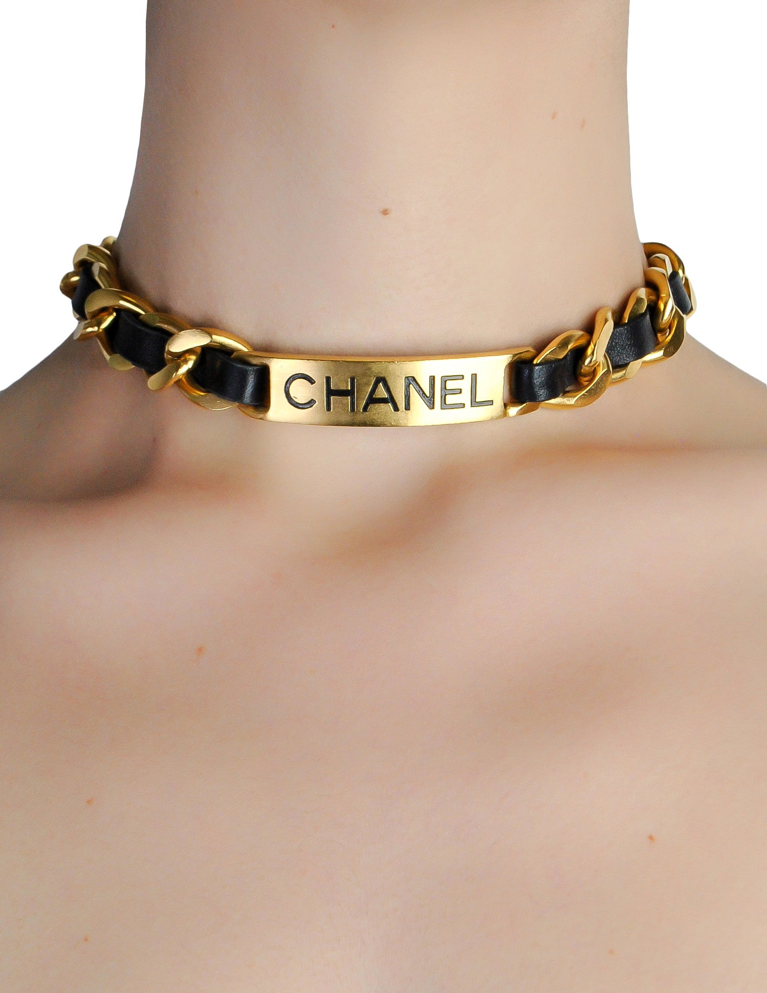 Chanel Vintage Gold Chain & Black Leather ID Tag Nameplate Choker Necklace - Amarcord Vintage Fashion  - 1