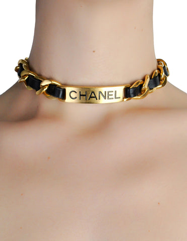 Chanel Vintage Gold Chain & Black Leather ID Tag Nameplate Choker Necklace