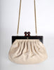 Chanel Vintage Beige Leather Kisslock Clutch Purse - Amarcord Vintage Fashion  - 2