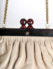 Chanel Vintage Beige Leather Kisslock Clutch Purse - Amarcord Vintage Fashion  - 3