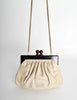 Chanel Vintage Beige Leather Kisslock Clutch Purse - Amarcord Vintage Fashion  - 5
