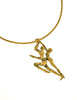 Vintage Brutalist Bronze Nude Figure Dancer Choker Necklace