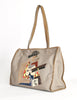 Carlos Falchi Vintage Musician Patchwork Leather Canvas Tote Bag - Amarcord Vintage Fashion  - 2
