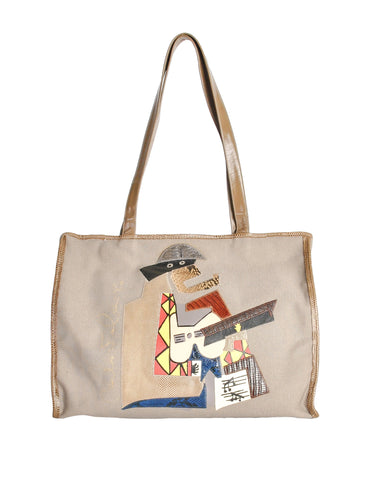 Carlos Falchi Vintage Musician Patchwork Leather Canvas Tote Bag