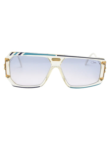 Cazal Vintage Asymmetrical Navy and Aqua Blue Sunglasses 867 649