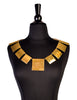 Cecile & Jeanne Vintage Massive Modernist Brushed Gold Decollete Neck Piece Necklace