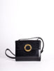 Celine Vintage Gold Circle Black Leather Structured Shoulder Bag - Amarcord Vintage Fashion  - 3