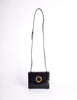 Celine Vintage Gold Circle Black Leather Structured Shoulder Bag - Amarcord Vintage Fashion  - 2