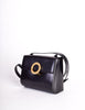 Celine Vintage Gold Circle Black Leather Structured Shoulder Bag - Amarcord Vintage Fashion  - 4