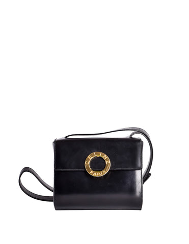 Celine Vintage Gold Circle Black Leather Structured Shoulder Bag