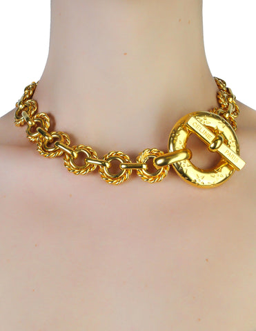 Celine Vintage Iconic Gold Star Toggle Choker Necklace