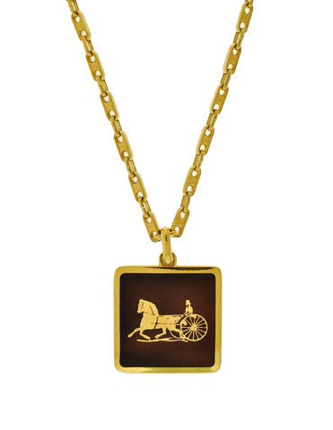 Cèline Vintage Brown & Gold Enamel Horse Carriage Logo Necklace