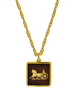 Cèline Vintage Brown & Gold Enamel Horse Carriage Logo Necklace - Amarcord Vintage Fashion  - 1