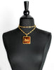 Cèline Vintage Brown & Gold Enamel Horse Carriage Logo Necklace - Amarcord Vintage Fashion  - 3