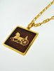 Cèline Vintage Brown & Gold Enamel Horse Carriage Logo Necklace - Amarcord Vintage Fashion  - 4