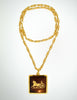 Cèline Vintage Brown & Gold Enamel Horse Carriage Logo Necklace - Amarcord Vintage Fashion  - 5