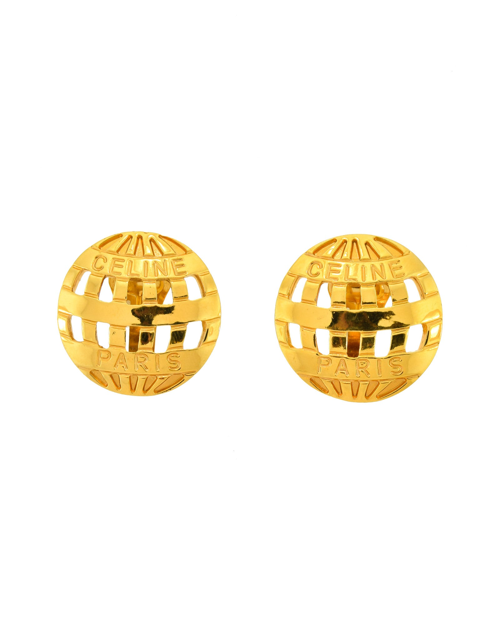 Celine Vintage Gold Hot Air Balloon Earrings - Amarcord Vintage Fashion  - 1
