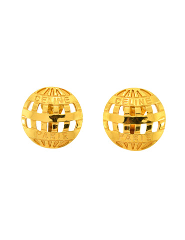 Celine Vintage Gold Hot Air Balloon Earrings