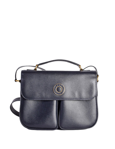 Celine Vintage Navy Blue Leather Messenger Bag