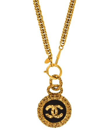 Chanel Vintage Black and Gold Textured CC Logo Pendant Necklace