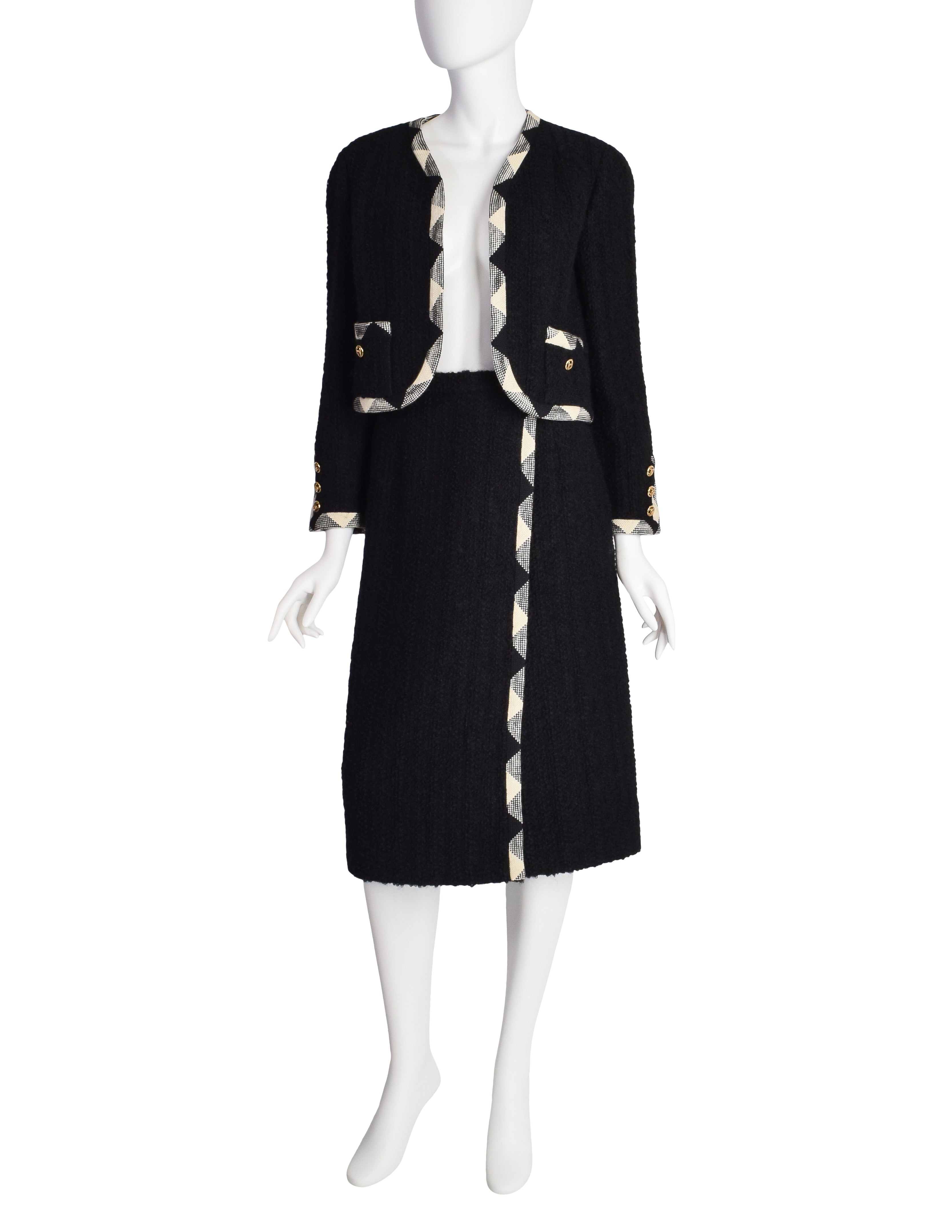 Chanel Vintage Black and White Boucle Jacket and Skirt Two Piece Suit