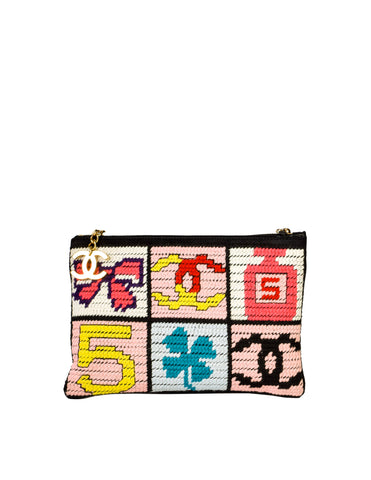 Chanel Vintage Precious Symbols Needlepoint Clutch Bag