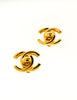 Chanel Vintage Gold CC Logo Turnlock Earrings
