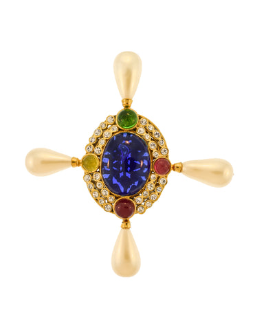 Chanel Vintage Multicolor Gripoix Four Point Pearl Cross Brooch Pin
