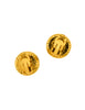 Chanel Vintage Red CC Logo Gripoix Gold Button Earrings