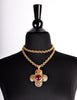 Chanel Vintage Red Gripoix CC Logo Gold Maltese Cross Pendant Necklace