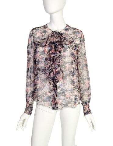 Chanel Vintage Pastel Multicolor Graphic Star Print Sheer Silk Chiffon Blouse Top