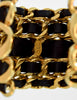 Chanel Vintage Iconic Gold Five Row Chain and Black Leather Cuff Bracelet