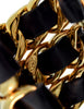 Chanel Vintage Iconic Gold Triple Row Chain and Black Leather Cuff Bracelet