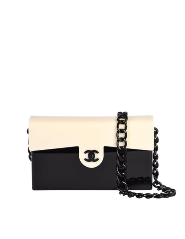 Chanel Vintage Black and Cream Lucite Style Chain Turnlock Flap Bag