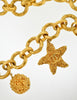 Chanel Vintage 1993 Oversized Gold Plated CC Logo Heart Star Nugget Charm Chain Necklace