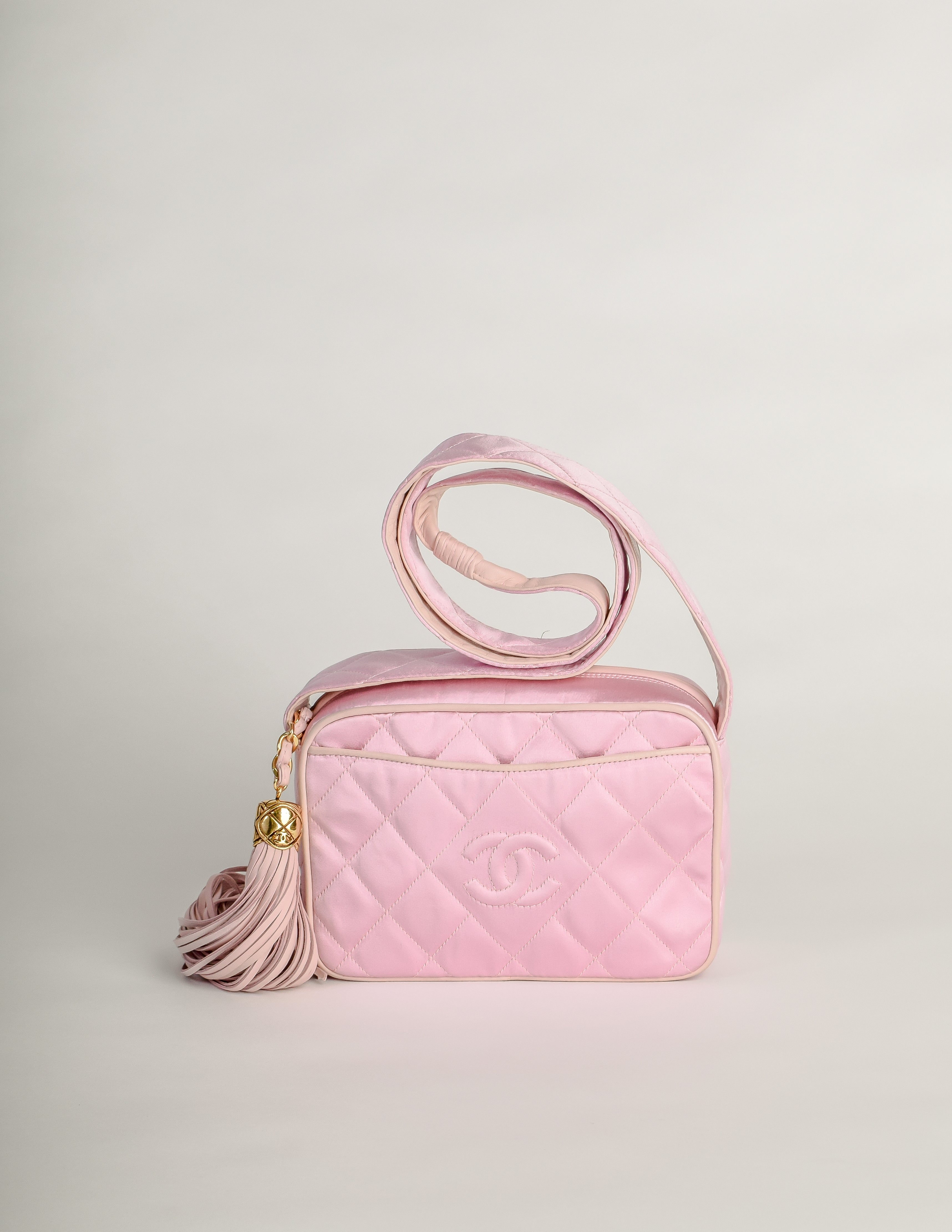 85acca7c9063 Chanel Vintage Quilted Baby Pink Satin Tassel Bag - from Amarcord ...