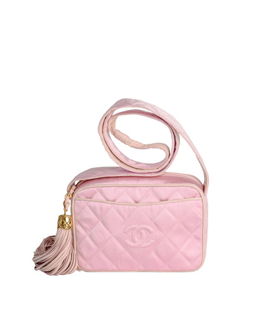 Chanel Vintage Quilted Baby Pink Satin Tassel Bag
