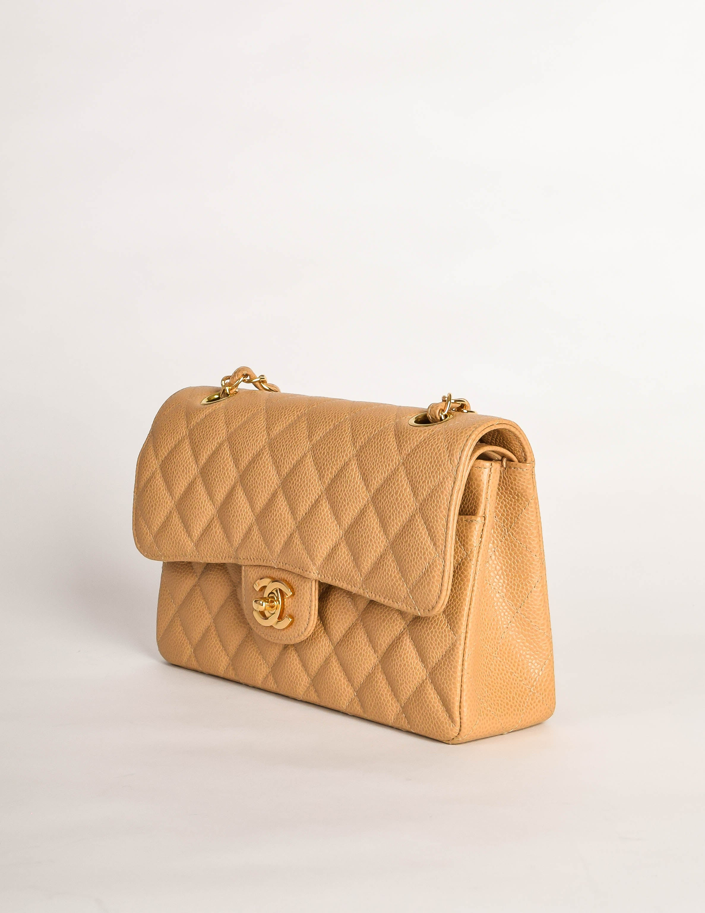 3b2b75defbc0de Chanel Vintage Beige Caviar Quilted 2.55 Small Classic Double Flap Bag