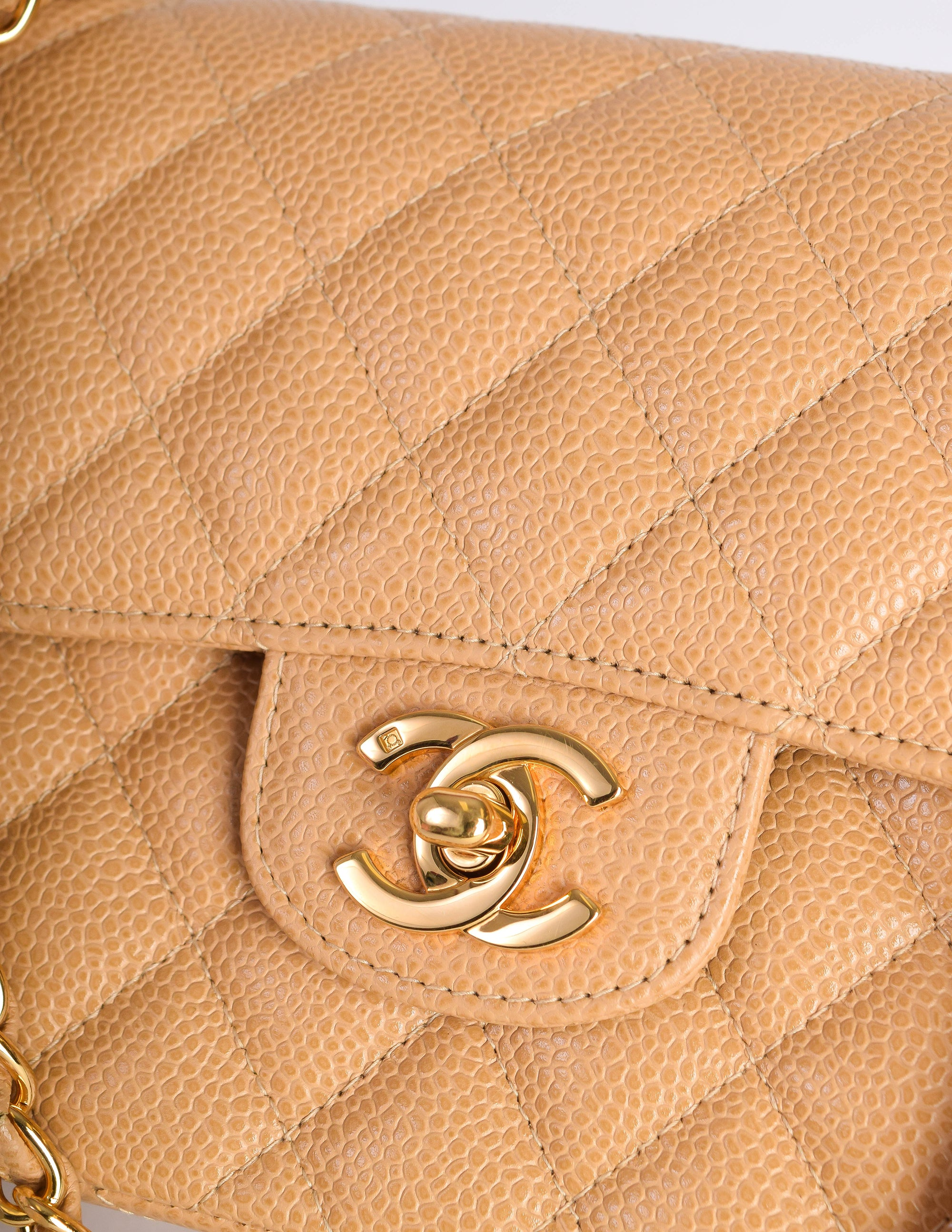 5b182ae9808a Chanel Vintage Beige Caviar Quilted 2.55 Small Classic Double Flap Bag