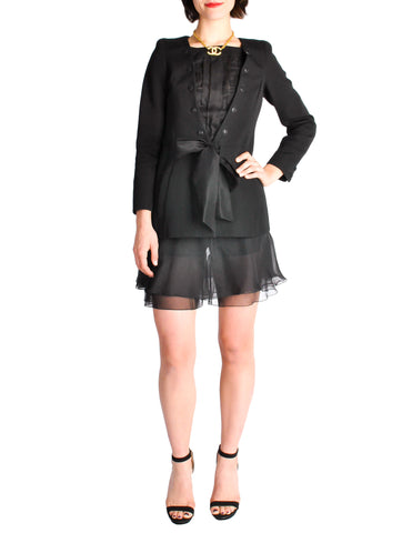 Chanel Black Pique & Chiffon Two-Piece Jacket & Shorts Suit