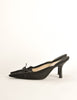 Chanel Vintage Black Pointed Toe Bow Mules - Amarcord Vintage Fashion  - 2