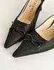 Chanel Vintage Black Pointed Toe Bow Mules - Amarcord Vintage Fashion  - 6