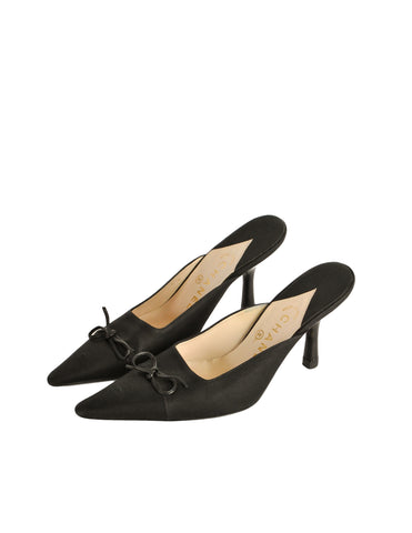 Chanel Vintage Black Pointed Toe Bow Mules